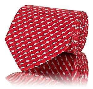 Salvatore Ferragamo Men's Mouse-Print Silk Twill Necktie-Red