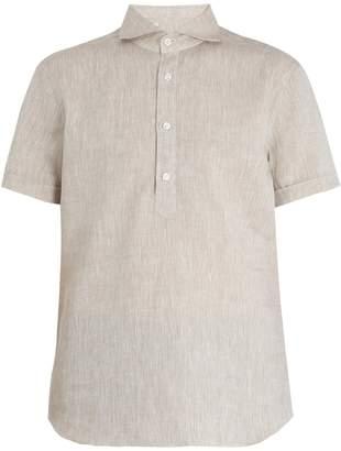 THOM SWEENEY Short-sleeve linen shirt