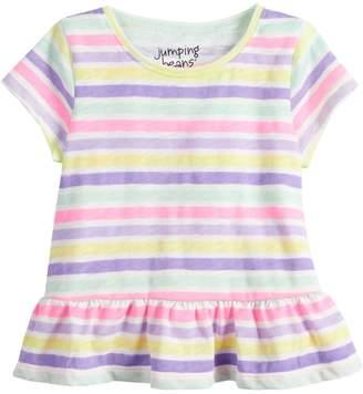 Baby Girl Jumping Beans Striped Peplum-Hem Top