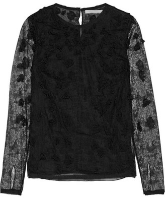 Jason Wu - Floral-appliquéd Lace And Tulle Top - Black $2,195 thestylecure.com