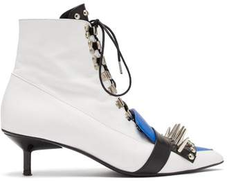 Marques Almeida Marques'almeida - Studded Lace Up Leather Ankle Boots - Womens - Blue White