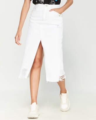 Sjyp Distressed Contrast Midi Denim Skirt
