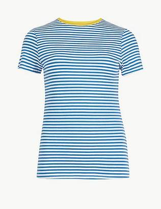 Marks and Spencer Cotton Rich Striped Short Sleeve T-Shirt
