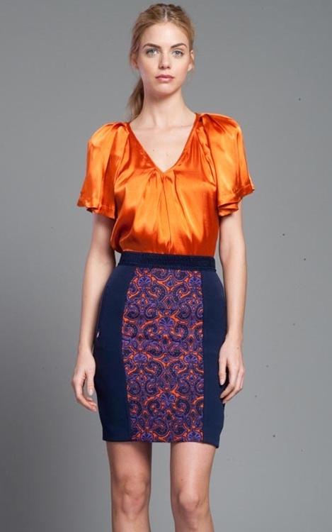 Tracy Reese Baroque Foulard Combo Skirt