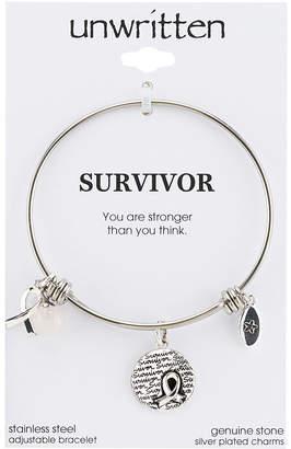 "Unwritten Survivor"" Breast Cancer Awareness Bangle Bracelet in Stainless Steel"
