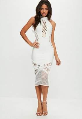 Missguided White Bandage & Lace Midi Dress