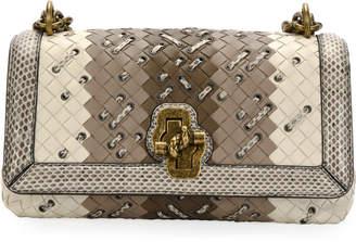 Bottega Veneta Club-Stitch Clutch Bag with Snakeskin Trim