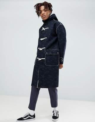 Asos Faux Shearling Duffle Coat In Camo Print