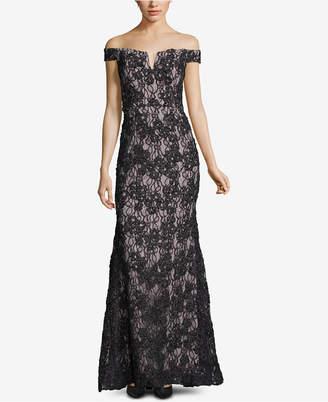 Xscape Evenings Off-The-Shoulder Lace Evening Gown