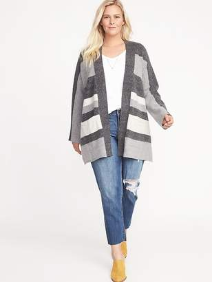Old Navy Relaxed Plus-Size Open-Front Striped Sweater