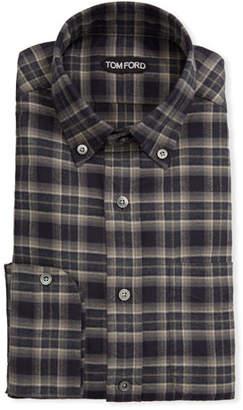Tom Ford Men's Tartan Plaid Dress Shirt