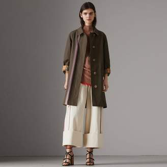 Burberry Striped Ribbon Cotton Gabardine Car Coat