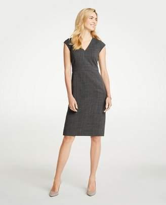 Ann Taylor Tall Crosshatch V-Neck Sheath Dress