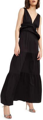 Cynthia Rowley Zadie V-Neck Sleeveless Tiered Peplum Maxi Dress