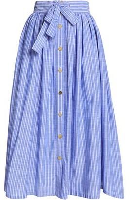 Stella Jean Belted Striped Chambray Midi Skirt