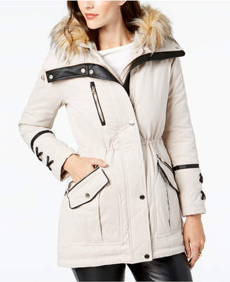 GUESS Faux-Fur-Trim Hooded Anorak