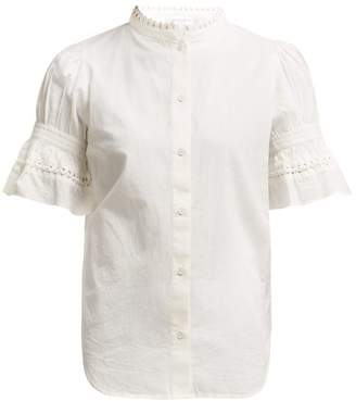 Apiece Apart Los Altos Fluted Sleeve Cotton Poplin Blouse - Womens - Cream