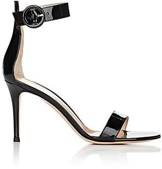 Gianvito Rossi Women's Portofino Patent Leather Ankle-Strap Sandals - Black