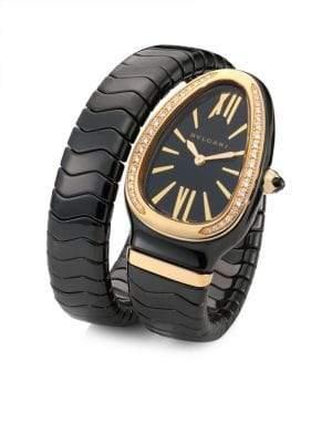 Bvlgari Serpenti Spiga Rose Gold, Black Ceramic& Diamond Single Twist Watch