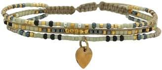 BEIGE LeJu London And Black Trio Bracelet With A Gold Pendant