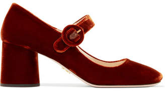 Prada - Velvet Mary Jane Pumps - Brown $650 thestylecure.com