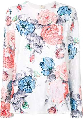 Nina Ricci floral sequinned top