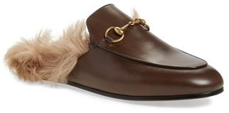 Women's Gucci 'Princetown' Genuine Shearling Loafer Mule $995 thestylecure.com