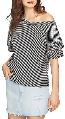 1 STATE 1.STATE Slipped-Shoulder Striped Top