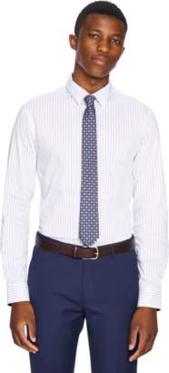 yd. WHITE/NAVY DYNAMO SLIM FIT DRESS SHIRT
