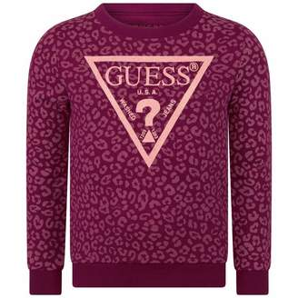 GUESS GuessGirls Pink Leopard Sweater