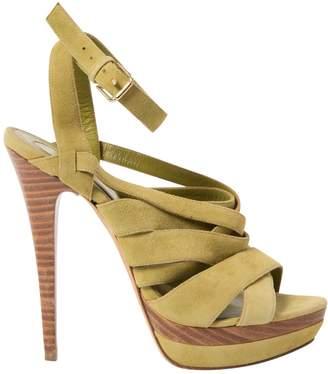 Elie Saab Green Suede Sandals