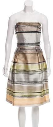 Carmen Marc Valvo Striped Strapless Dress w/ Tags