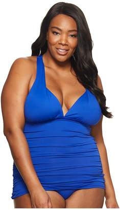 Lauren Ralph Lauren Plus Size Plunge Halter Mio One-Piece Women's Swimsuits One Piece