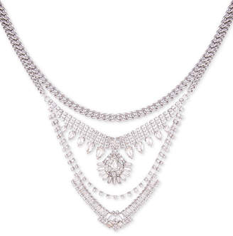 "GUESS Silver-Tone Crystal Multi-Chain Statement Necklace, 15"" + 2"" extender"