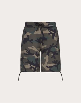 Valentino Camouflage Print Bermuda Shorts Man Military Green L