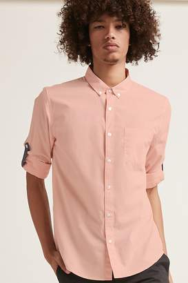 Forever 21 Button-Front Roll-Tab Sleeve Shirt