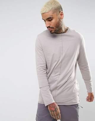 Asos Design Relaxed Skater Super Longline Double Layer Long Sleeve T-Shirt