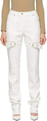 Kreist White High-Rise Buckled Jeans
