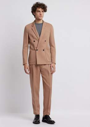 Emporio Armani Lightweight Wool Gabardine Suit With Double-Breasted Jacket And Pants With Pleats