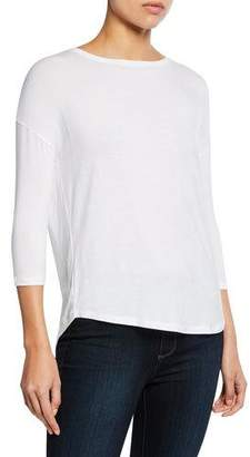 Neiman Marcus Majestic Paris for Soft Touch Easy Boat-Neck 3/4-Sleeve Tee