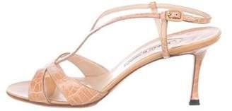 Manolo Blahnik Alligator Ankle Strap Sandals