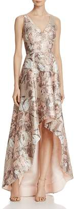 Aidan Mattox Sleeveless Jacquard High/Low Gown $495 thestylecure.com