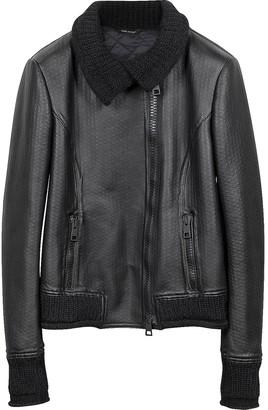 Forzieri Women's Black Leather And Mix Media Jacket