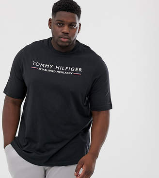 b1e0dd9f Tommy Hilfiger Big & Tall flock stripe logo t-shirt in navy