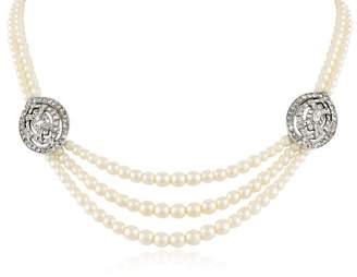 Ben-Amun Jewelry Double Strand Pearl Small Deco Crystal Pendant Necklace