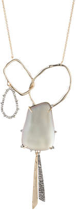 Alexis Bittar Crystal Encrusted Organic Link Tassel Bib Necklace