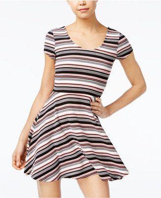 Planet Gold Juniors' Printed Double-Scoop Skater Dress $34 thestylecure.com