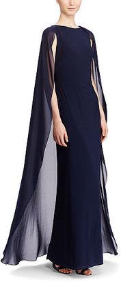 Ralph Lauren Lauren Georgette-Cape Jersey Gown $195 thestylecure.com