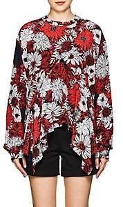 Cédric Charlier Women's Floral Silk Handkerchief Blouse-Red