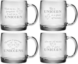 Susquehanna Glass Set Of 4 Unicorn Assortment Glass Mug